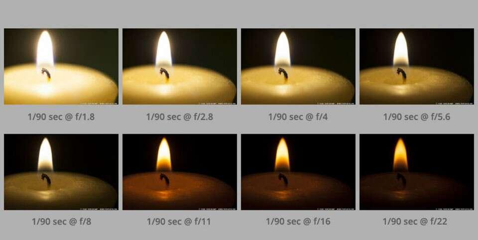 Фотографии, сделанные с одинаковой выдержкой при разных диафрагмах (обратите внимание на различия в глубине резкости)