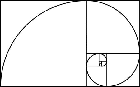 Золотая спираль вложенная в прямоугольники