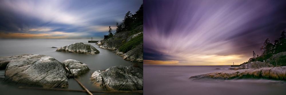 Съемка длинной выдержкой на рассвете или закате покажет красивые цвета. Оба изображения были сняты с 13-ступовым нейтральным фильтром, диафрагмой f/11 и 8-минутной экспозицией. Различия в цвете происходят от времени суток, когда они были сняты. Фото Шарон Тененбаум