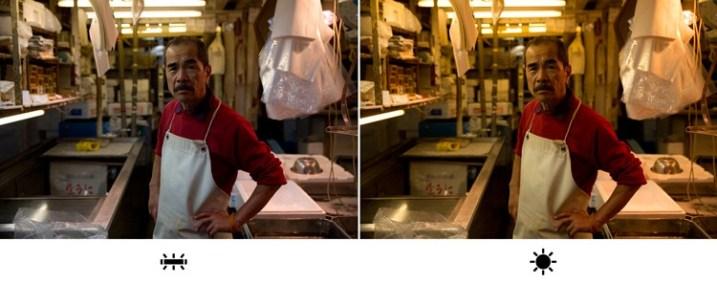 Я сделал этот снимок на рыбном рынке в Токио, под белым, флуоресцентным светом. На левом снимке я выбрал флуоресцентную предустановку баланса белого, которая действительно более соответствует исходной ситуации освещения на рынке. Но на правом снимке я выбрал «неправильный» баланс белого (предустановка дневного света), который сделал изображение намного теплее, по цвету и ощущению. Какой из них лучше на ваш взгляд?