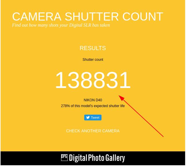 Как узнать количество сделанных кадров на фотокамере?